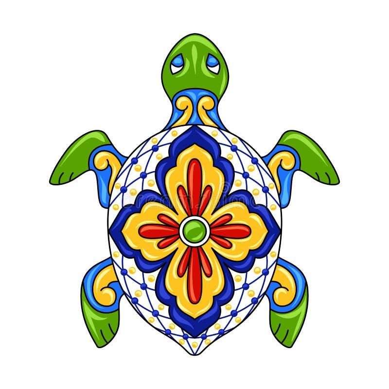 Мексиканская орнаментальная черепаха иллюстрация штока