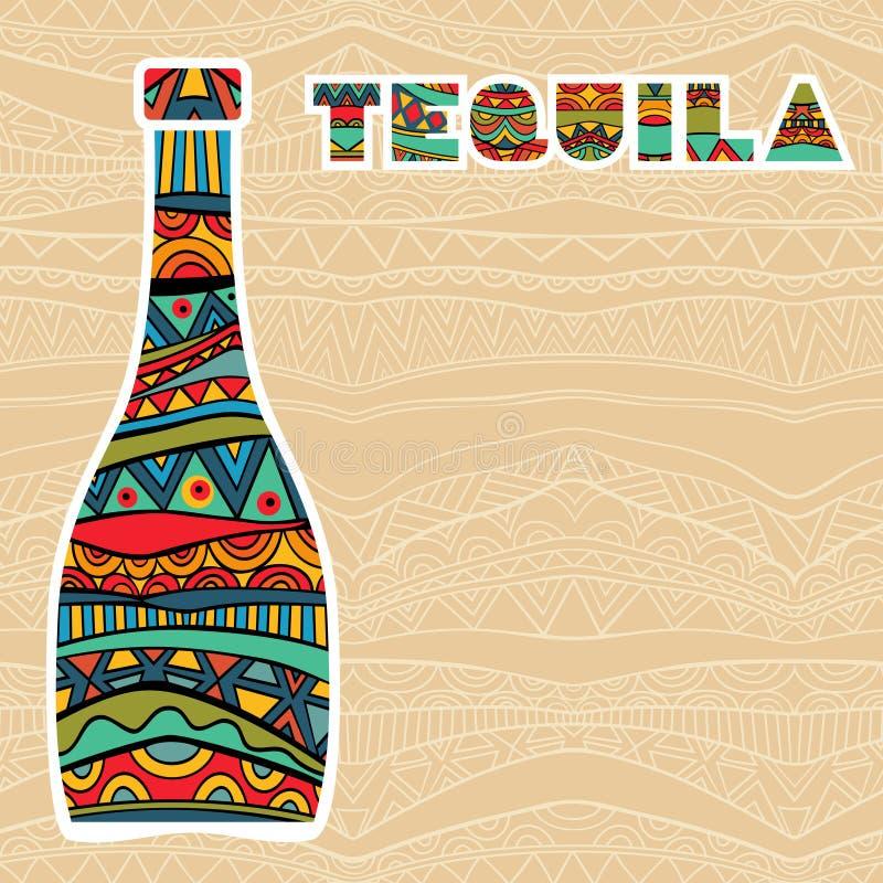 Мексиканская предпосылка с причудливыми бутылками текила иллюстрация вектора