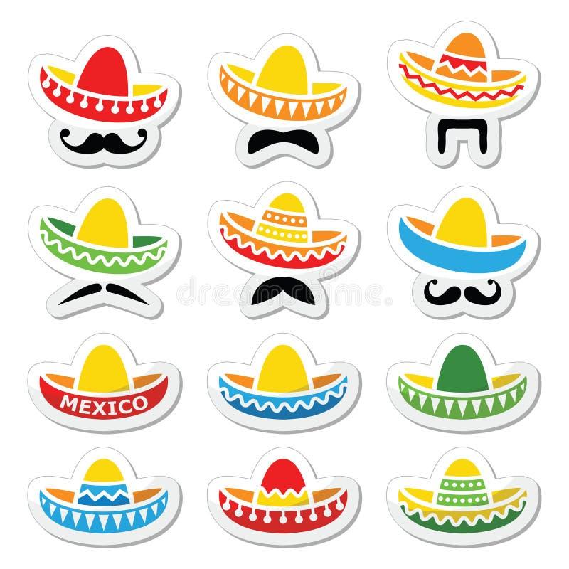 Мексиканская шляпа Sombrero с значками усика или усика иллюстрация штока