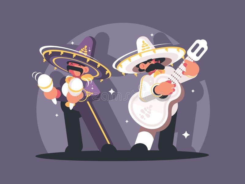 Мексиканские музыканты в sombrero бесплатная иллюстрация