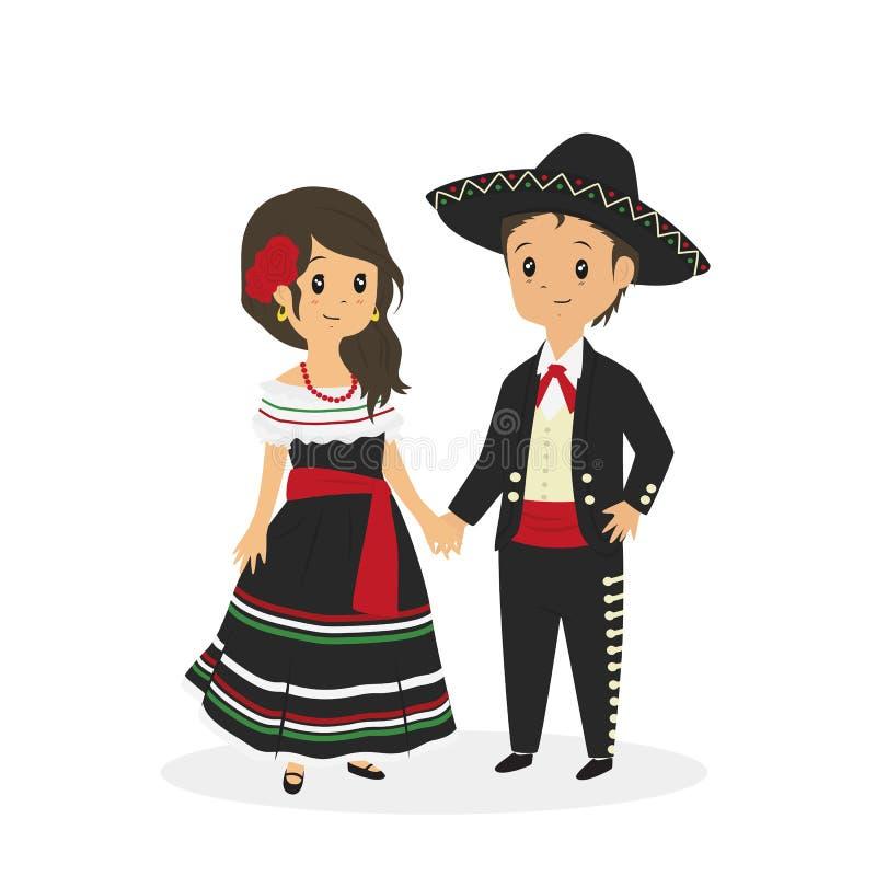 Мексиканские пары нося традиционный вектор платья иллюстрация вектора