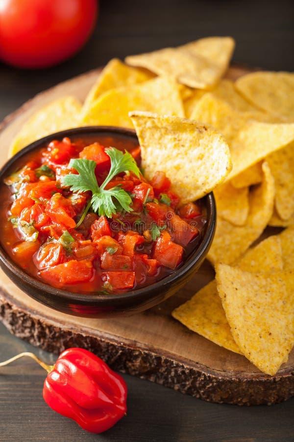 Мексиканские погружение сальсы и обломоки tortilla nachos стоковые изображения rf