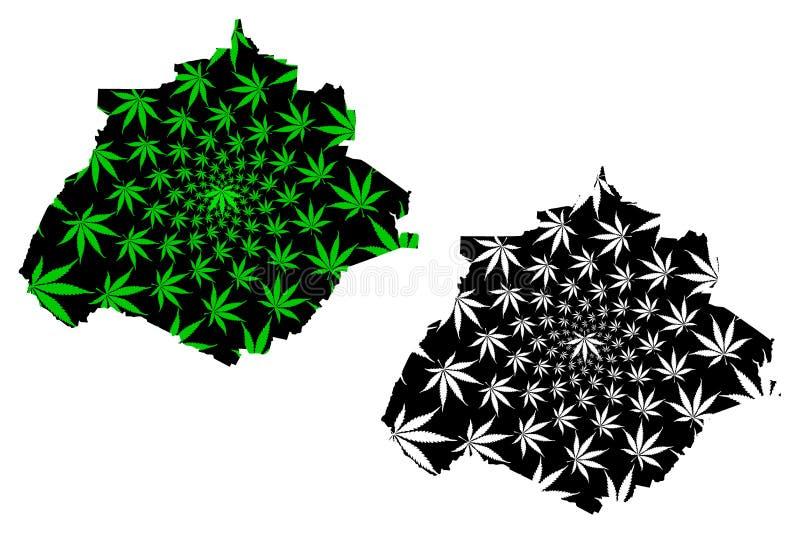 Мексиканские Соединенные Штаты Агуаскальентес, Мексика, карта федеральной республики конструированные зеленый цвет лист конопли и иллюстрация вектора