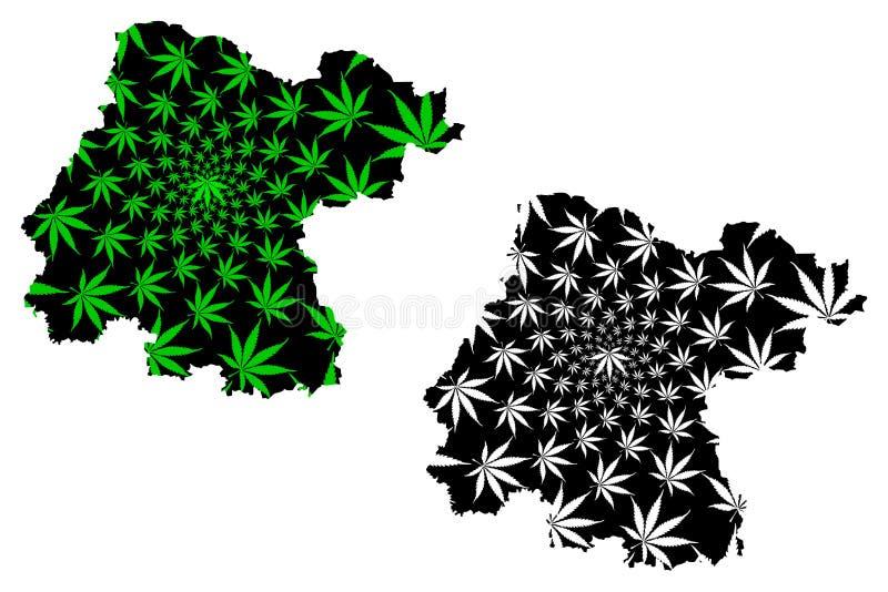 Мексиканские Соединенные Штаты Гуанахуата, Мексика, карта федеральной республики конструированные зеленый цвет лист конопли и чер иллюстрация штока
