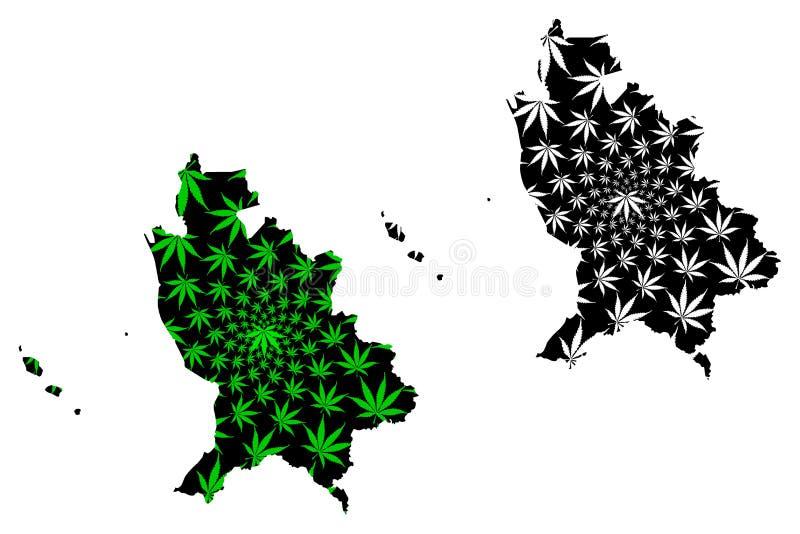 Мексиканские Соединенные Штаты Наярита, мексиканськая карта конструированные зеленый цвет лист конопли и черны, свободны и сувере иллюстрация штока