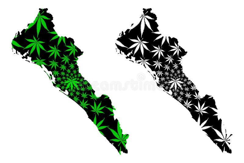 Мексиканские Соединенные Штаты Синалоа, Мексика, карта федеральной республики конструированные зеленый цвет лист конопли и черны, бесплатная иллюстрация