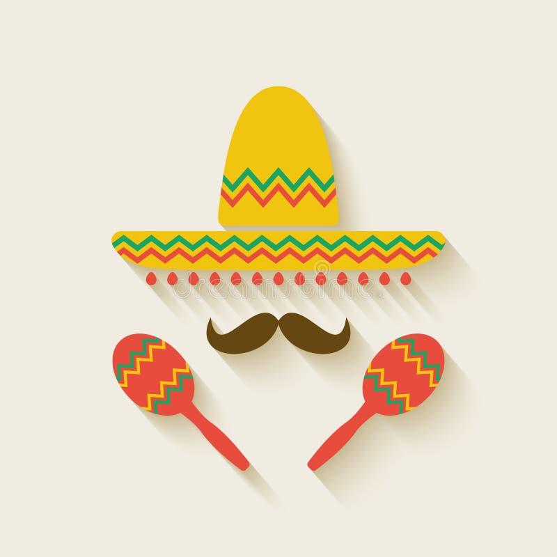 Мексиканские sombrero и maracas иллюстрация штока