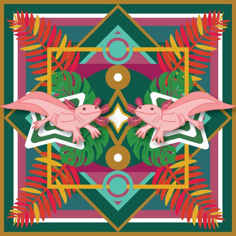 Мексиканский аксолотль печати стоковые фото