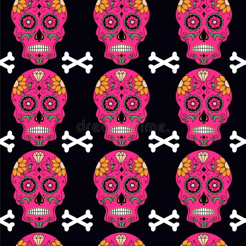 Мексиканский день мертвого черепа сахара с картиной цветков иллюстрация вектора