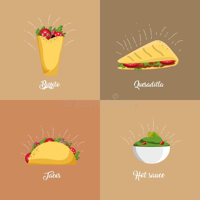 мексиканский дизайн еды иллюстрация штока