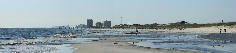 Мексиканский залив пляжа Панама (город) около острова раковины захода солнца живописного стоковые фотографии rf