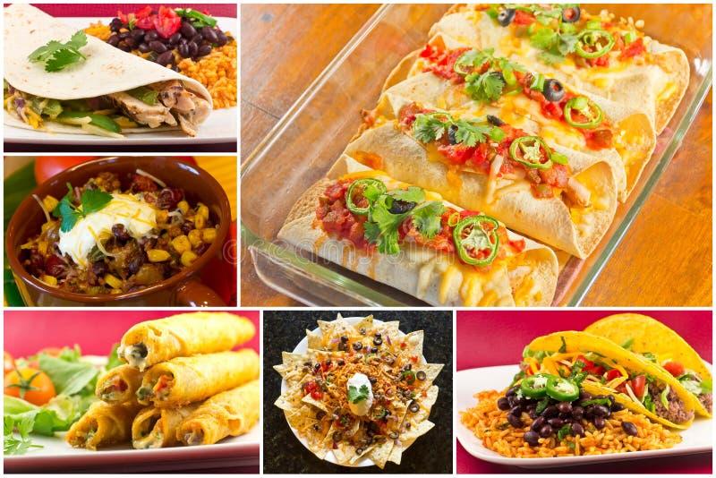 Мексиканский коллаж еды стоковое фото