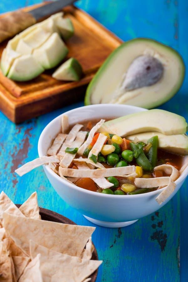 Мексиканский овощной суп с прокладками tortillas стоковая фотография