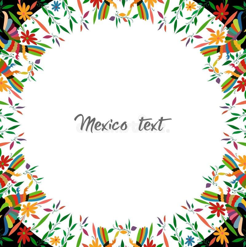 Мексиканский традиционный стиль вышивки ткани от города Tenango, идальго, Мексики Круглый флористический состав с птицами, павлин иллюстрация вектора