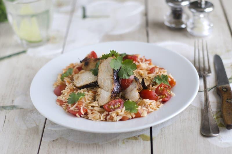 Мексиканский цыпленок с рисом стоковое изображение