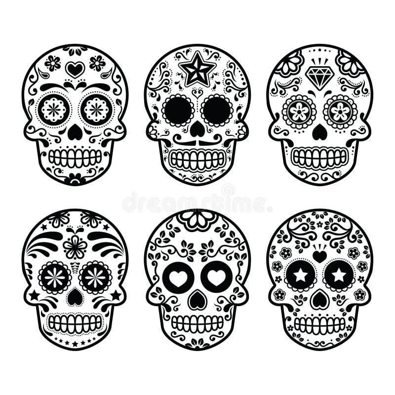 Мексиканский череп сахара, установленные значки Dia de los Muertos бесплатная иллюстрация