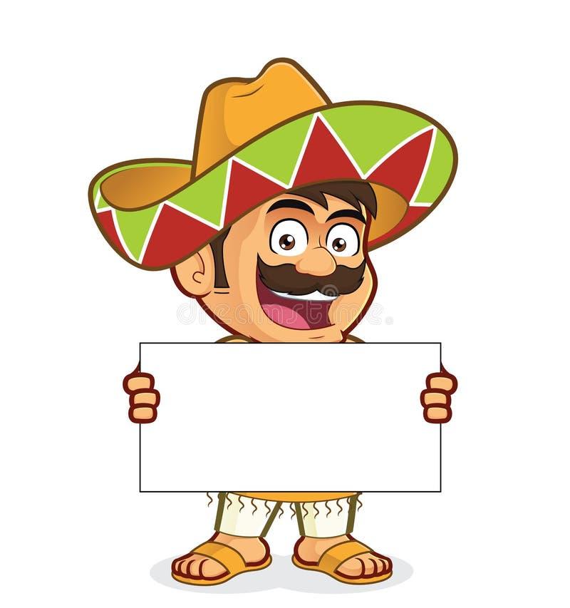 Мексиканский человек держа пустой знак бесплатная иллюстрация