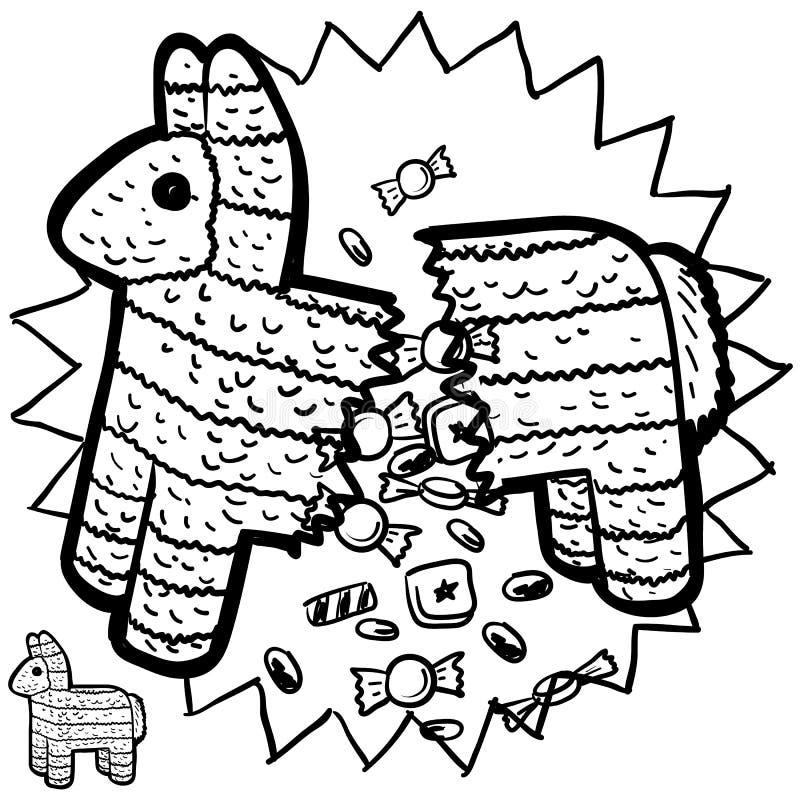 Мексиканский эскиз pinata бесплатная иллюстрация