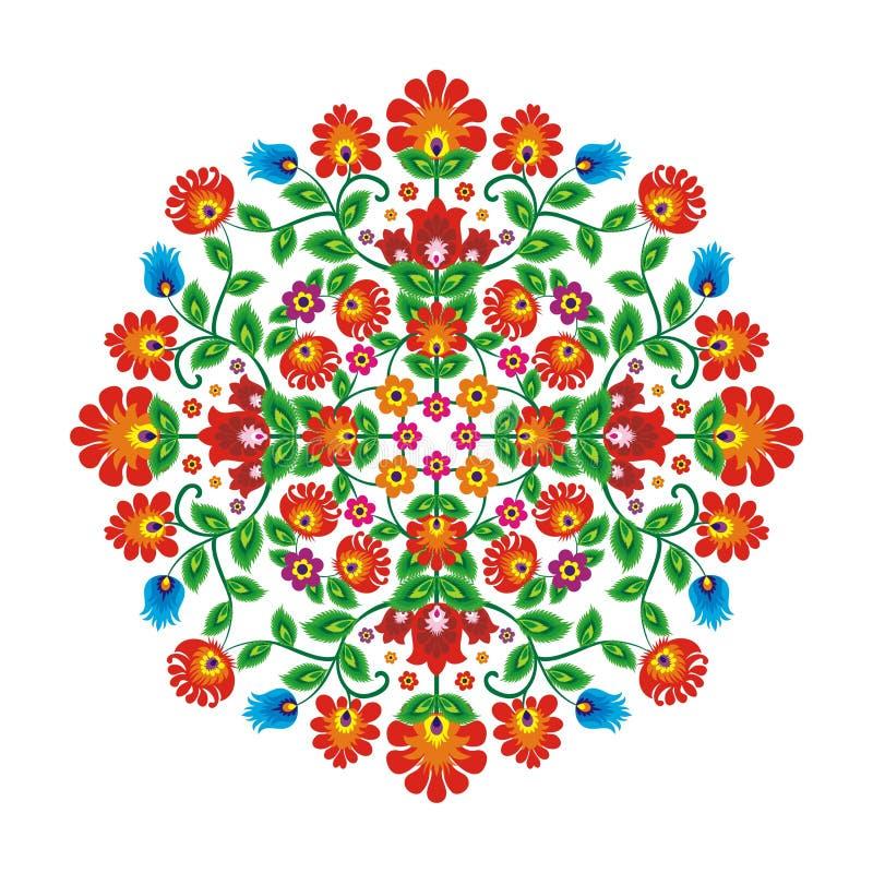 Мексиканский этнический повод с цветочным узором стиля круга иллюстрация вектора