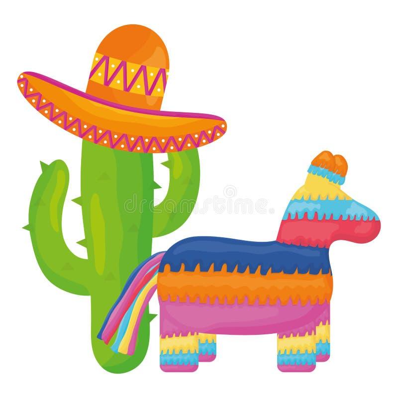 Мексиканский pinata с кактусом и шляпой иллюстрация вектора