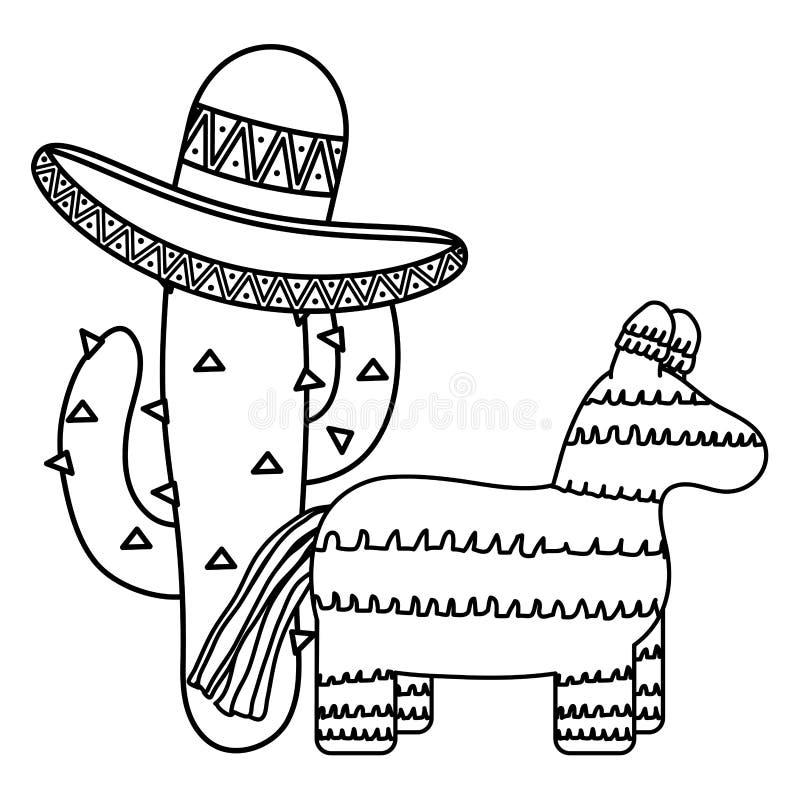 Мексиканский pinata с кактусом и шляпой иллюстрация штока