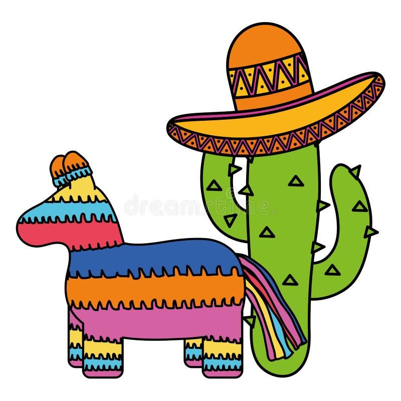 Мексиканский pinata с кактусом и шляпой бесплатная иллюстрация