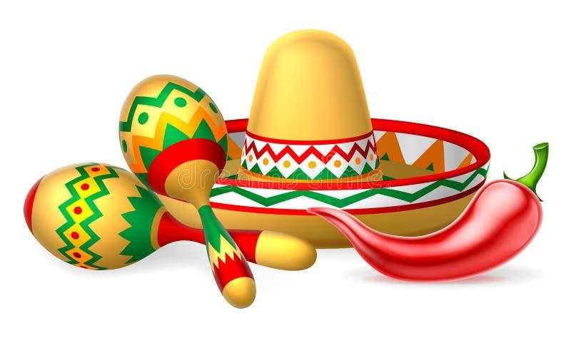 Мексиканский Sombrero Maracas и перец чилей иллюстрация штока