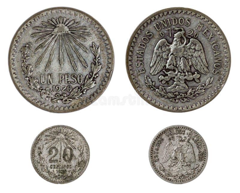 2 мексиканских серебряной монеты, обе стороны стоковая фотография rf