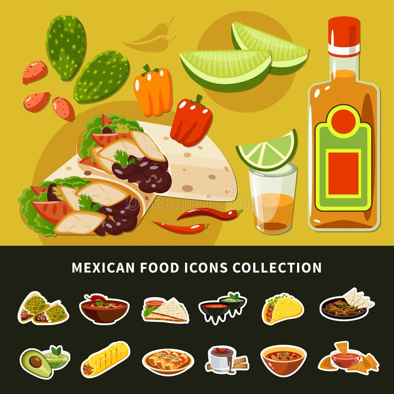 Мексиканское собрание значков еды иллюстрация вектора