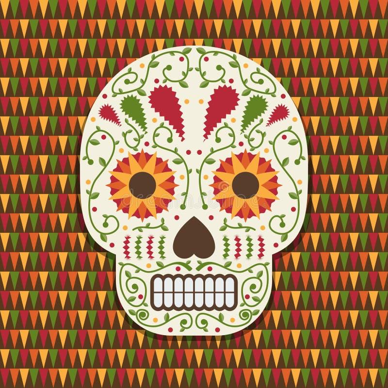 Мексиканское украшение черепа иллюстрация вектора