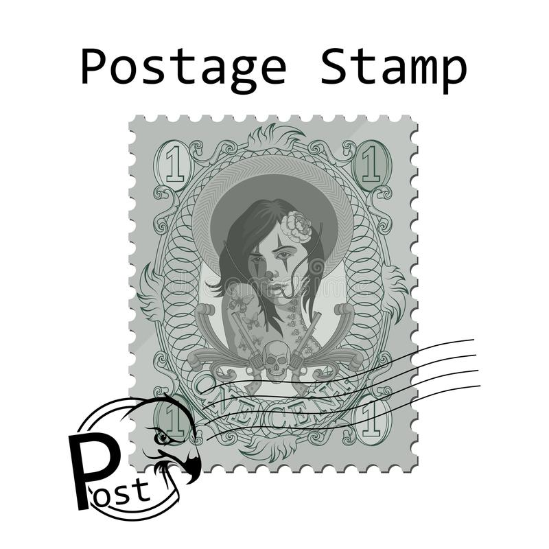 Мексиканско-американский штемпель почтового сбора стиля на белой предпосылке красивый штемпель женщины иллюстрация вектора