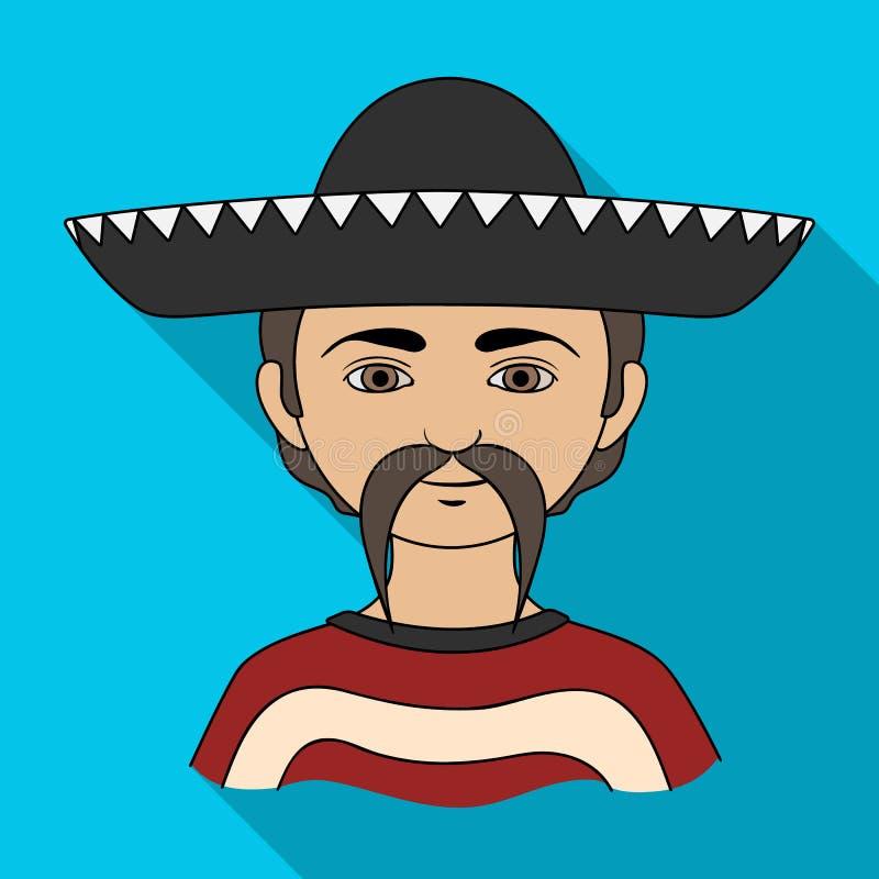 мексиканско Значок человеческого общества одиночный в плоской сети иллюстрации запаса символа вектора стиля иллюстрация вектора
