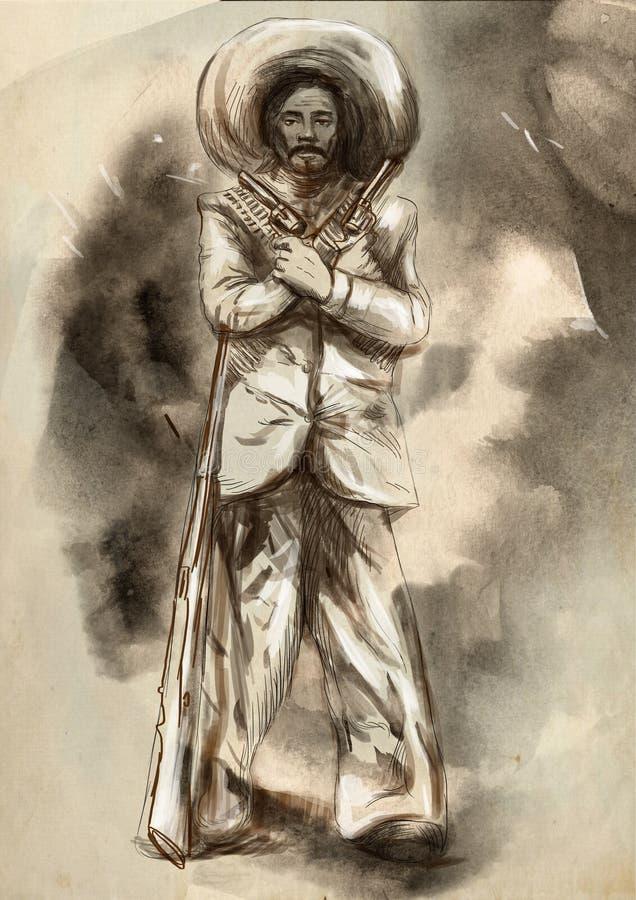 мексиканско desperado Иллюстрация нарисованная рукой, freehand sketchi иллюстрация штока