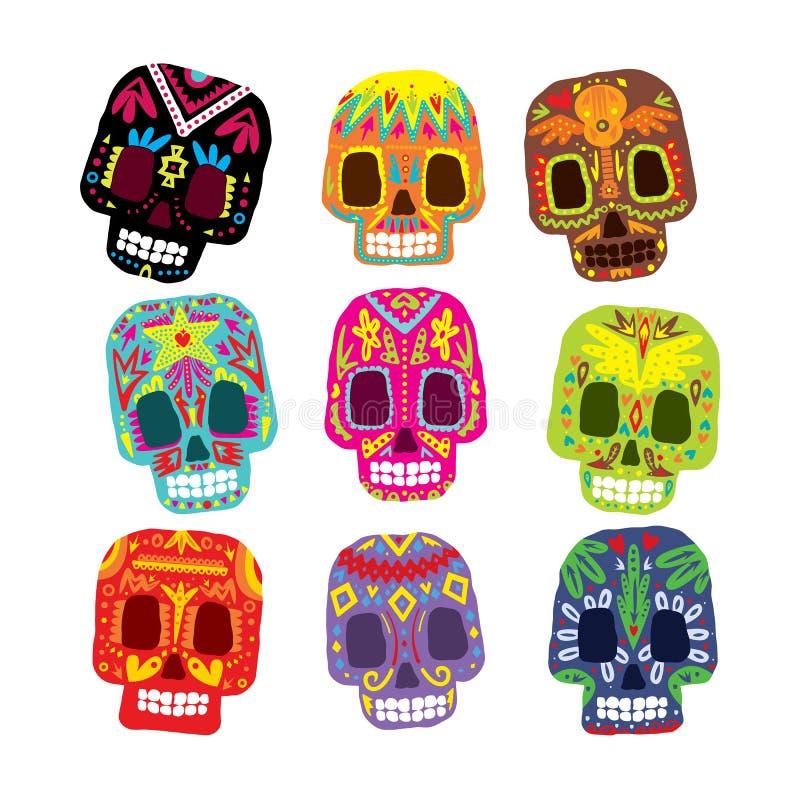 Мексиканськие цветки, элементы черепа вектор иллюстрация штока
