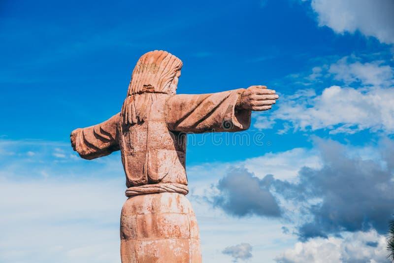 МЕКСИКА - 22-ОЕ СЕНТЯБРЯ: Статуя Иисуса Христоса na górze moun стоковое фото rf