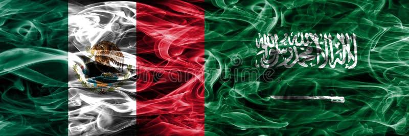 Мексика против дыма Саудовской Аравии сигнализирует помещенную сторону - мимо - сторона мексиканско бесплатная иллюстрация