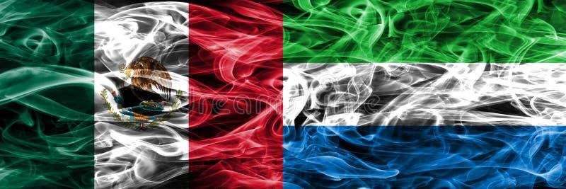 Мексика против дыма Сьерра-Леоне сигнализирует помещенную сторону - мимо - сторона мексиканско иллюстрация вектора