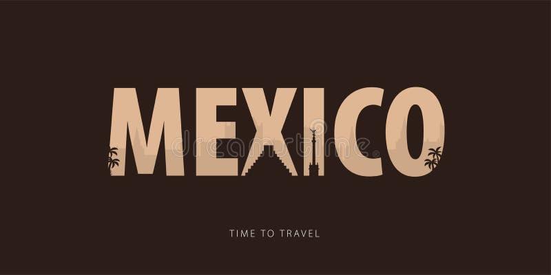 Мексика Bunner перемещения с силуэтами визирований время переместить также вектор иллюстрации притяжки corel иллюстрация вектора