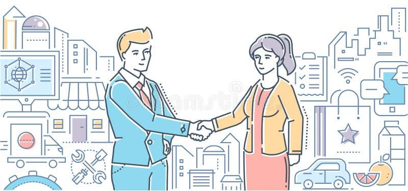 Мелкий бизнес помогает людям - выровняйте иллюстрацию стиля дизайна иллюстрация вектора