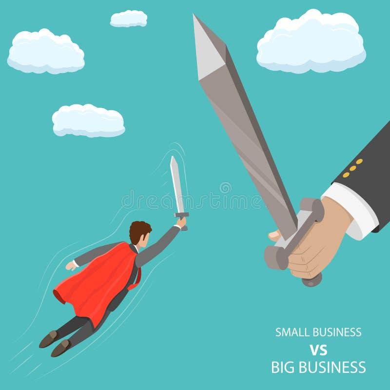 Мелкий бизнес ПРОТИВ большой плоской равновеликой концепции вектора бесплатная иллюстрация