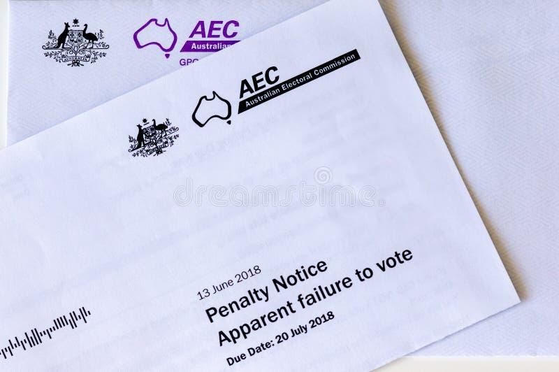 Мельбурн, Австралия - 5-ое сентября 2018: Австралийское извещение о штрафа для голосования в избраниях стоковое фото