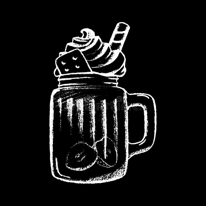 Мел сливк кофе льда белый на черной иллюстрации доски иллюстрация штока