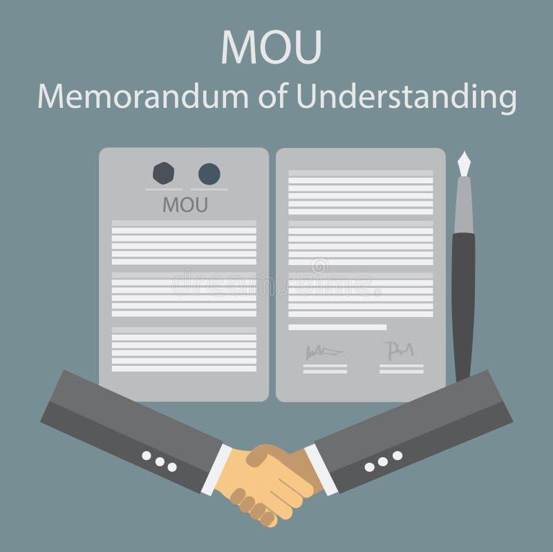 Меморандум о понимани MOU иллюстрация вектора