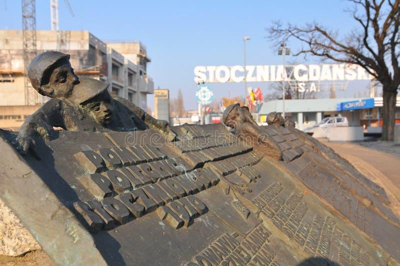 Мемориал для убитых работников на восстании работников верфи в квадрате перед верфью Гданьск, Польша стоковые фото