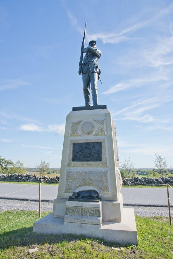 Мемориал к одиннадцатой пехоте включая их собаку, Sallie Пенсильвании стоковая фотография