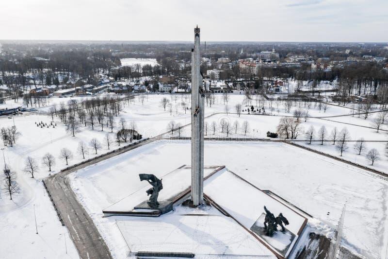 Мемориал победы к Советской Армии в Agenskalns Созданный 1985 для того чтобы чествовать победу Советской Армии стоковое фото