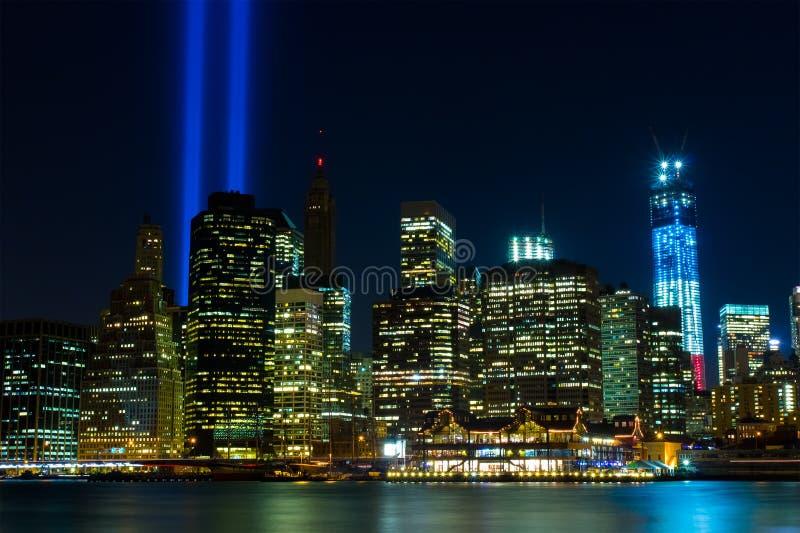 Мемориал WTC: Дань в свете стоковые изображения
