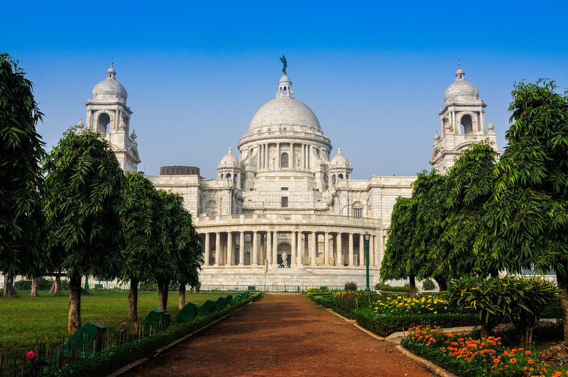 Мемориал Виктории, Kolkata, Индия – здание ориентир ориентира. стоковая фотография rf