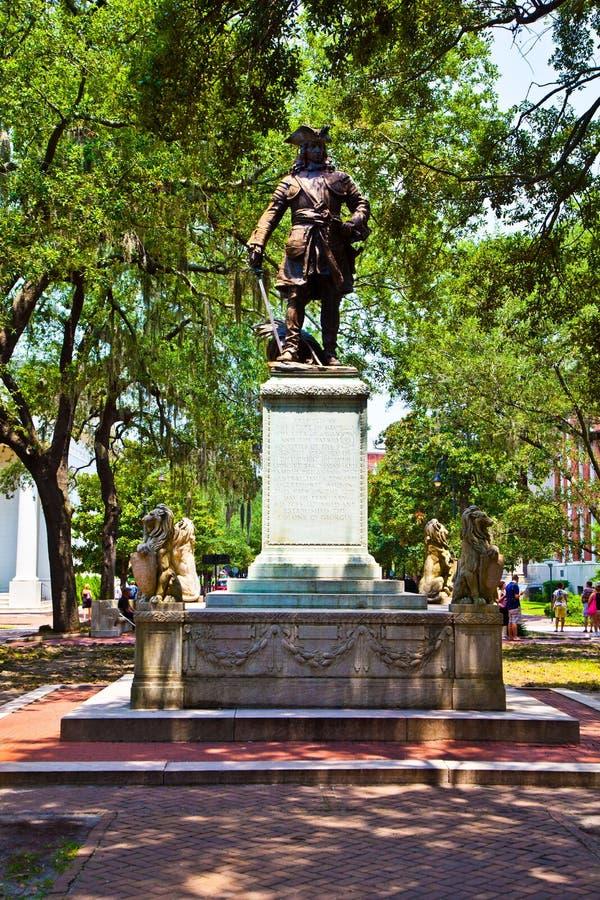 Мемориал в саванне для генерала Oglethorpe стоковые фото