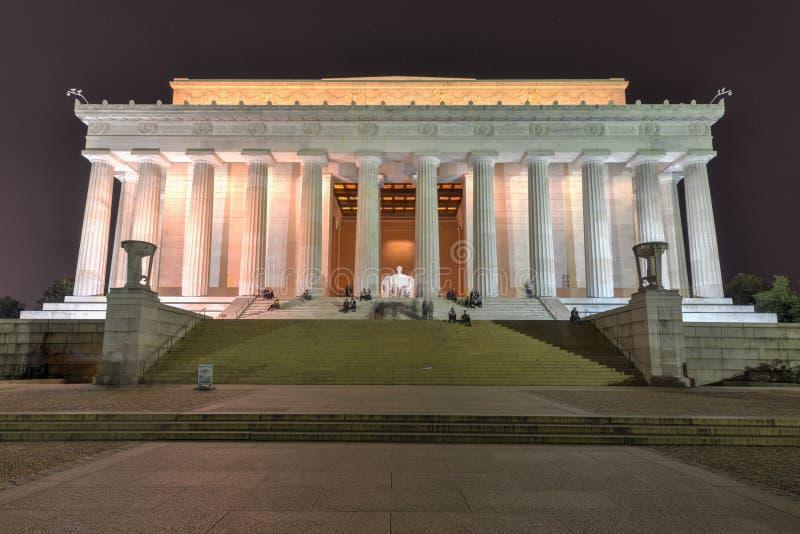 Мемориал Линкольна на ноче стоковая фотография